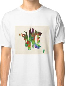 France Typographic Watercolor Map Classic T-Shirt