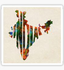 India Typographic Watercolor Map Sticker
