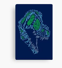 Analogous Colors Calligram Tyrannosaur Skull Canvas Print
