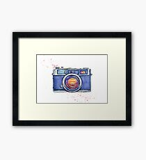 Watercolor vintage photo camera Framed Print
