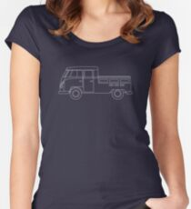 VW Type 2 Crew Cab Blueprint Women's Fitted Scoop T-Shirt