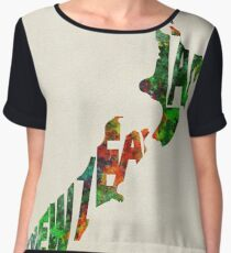 New Zealand Typographic Watercolor Map Women's Chiffon Top