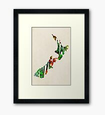 New Zealand Typographic Watercolor Map Framed Print