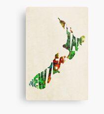 New Zealand Typographic Watercolor Map Metal Print