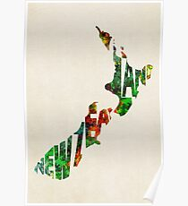 New Zealand Typographic Watercolor Map Poster