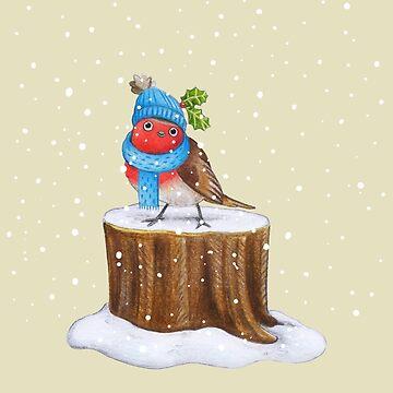 Robin in the Snow by SprawlingPuppy
