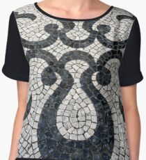 Swirly black and white patterns in cobblestone Women's Chiffon Top