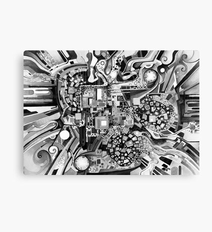 Distortion Sympathy - Watercolor Painting B&W Canvas Print