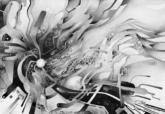 Axion of Evil - Watercolor Painting B&W von jeffjag