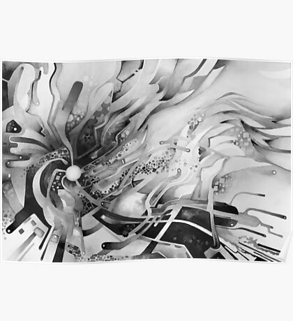 Axion of Evil - Watercolor Painting B&W Poster