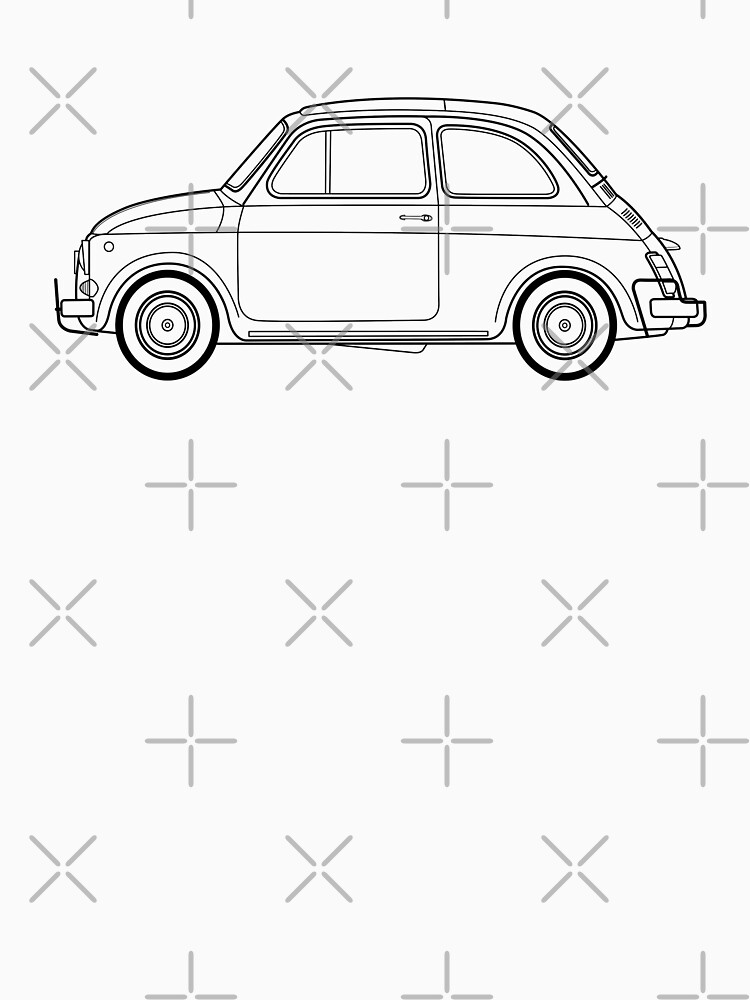 Fiat 500 Line Drawing Artwork Womens Fitted Scoop T Shirt By