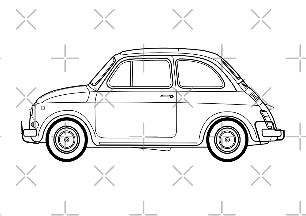 Fiat 500 line drawing artwork by RJWautographics