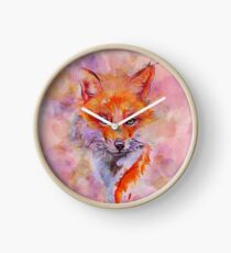 Watercolor colorful Fox Horloge