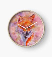 Watercolor colorful Fox Clock