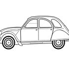 Citroen 2CV line drawing artwork by RJWautographics