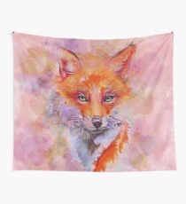 Watercolor colorful Fox Wall Tapestry