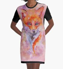 Watercolor colorful Fox T-Shirt Kleid