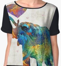 Colorful Elephant Art - Elovephant - By Sharon Cummings Chiffon Top