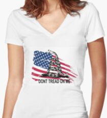 Gadsden Flag Don't Tread On Me Shirt, Cases, Stickers, Pillow, Posters, Cards Women's Fitted V-Neck T-Shirt