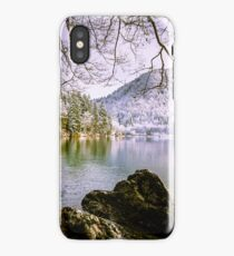 first snow at the mountain lake iPhone Case