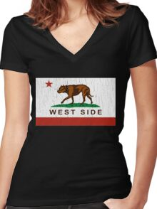 California Pit Bull West Side Flag  Women's Fitted V-Neck T-Shirt