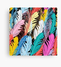 Graphic pattern multicolored feathers Canvas Print