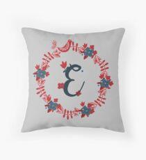 Scandinavian Monogram E Throw Pillow