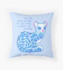 """You Are Doing Enough"" Water Linsang Throw Pillow"