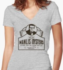Manlis Brand Oysters Women's Fitted V-Neck T-Shirt