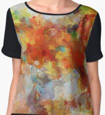 Colorful Abstract Landscape Painting Chiffon Top