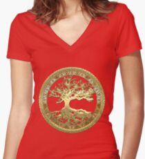 Celtic Tree of Life, Yggdrasil  [Gold] Women's Fitted V-Neck T-Shirt