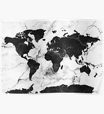 Black white world map posters redbubble world map marble poster gumiabroncs Image collections