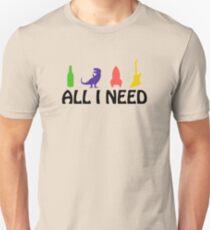 All I Need (beer, dinosaur, rocket, guitar) T-Shirt