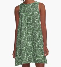 GREEN MANDALA A-Line Dress