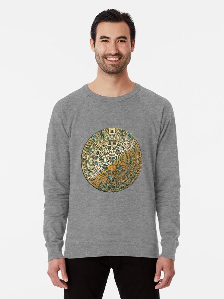 17a4c3aa Ancient Mayan (Aztec) Calendar (Jade & Gold) Lightweight Sweatshirt.  Designed by Serge Averbukh