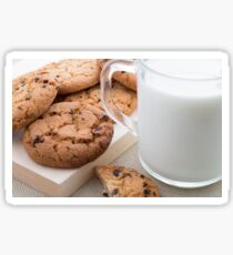 Transparent cup with milk and oatmeal cookies Sticker