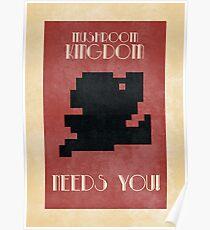 Retro Mario Poster - Mushroom Kingdom Needs You! Poster