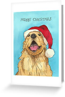 Golden retriever santa hat greeting cards by inkseparable redbubble golden retriever santa hat by inkseparable m4hsunfo