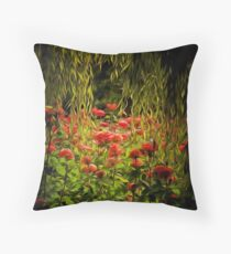 Flowers framed by leaves Throw Pillow