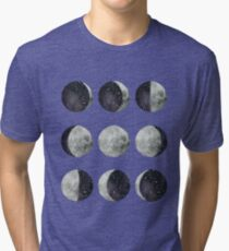 Moon Phases - Watercolor & Ink Tri-blend T-Shirt