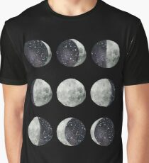 Moon Phases - Watercolor & Ink Graphic T-Shirt