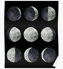 Moon Phases - Watercolor & Ink Poster