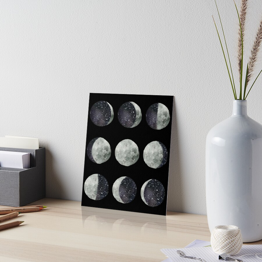 Moon Phases - Watercolor & Ink by Spooky Lee