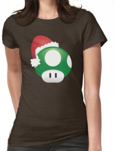 Super Mario 1Up Christmas Mushroom Womens Fitted T-Shirt