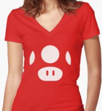 Super Mario Mushrooms Women's Fitted V-Neck T-Shirt