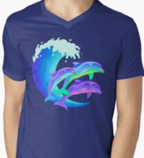 Psychedelic Dolphins Men's V-Neck T-Shirt
