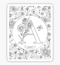 A is for Aster Black & White Sticker