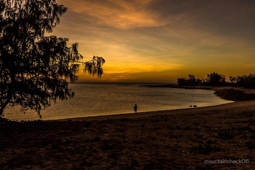 Sunset fishing on a remote beach by mountainshack08
