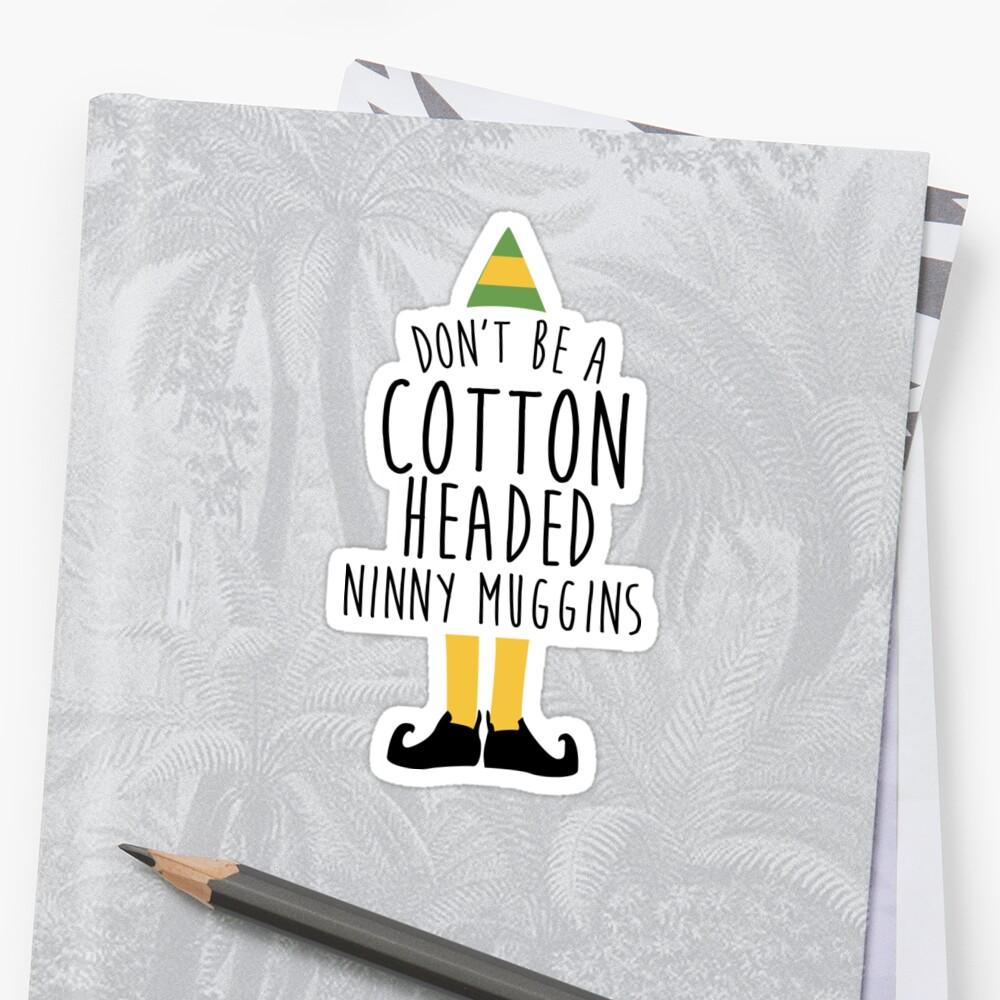 Elf - Cotton encabezó Ninny Muggins Pegatina
