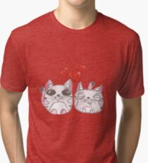 Cute love kittens. Illustration of colorful pencils. Tri-blend T-Shirt